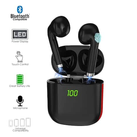 K6 Universal Wireless EarBuds for Android/iOS Compatible - HD Binuaral Stereo & Mic w/ Case & Wireless Charge(WHT)
