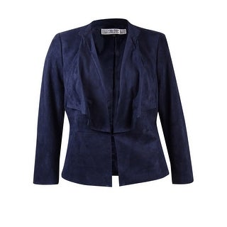 Tahari ASL Women's Plus Size Faux Suede Ruffled Jacket - navy beauty