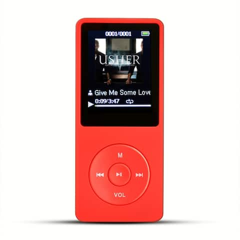 AGPTEK A20 8GB mp3 player, Lossless Sound Music Player with Portable Carrying Case, Red - Silver - M