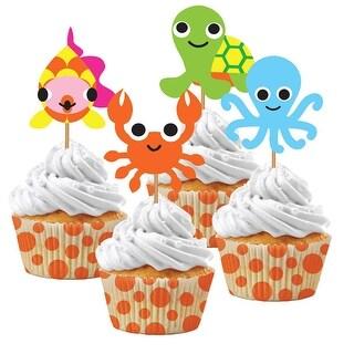 Pack of 72 Orange, Green and Cream White Juvi Ocean Cupcake Kits 5.9