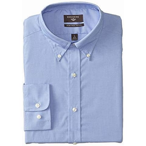 Dockers Mens Shirt Blue Size Medium M Fitted Long-Sleeve Button Down