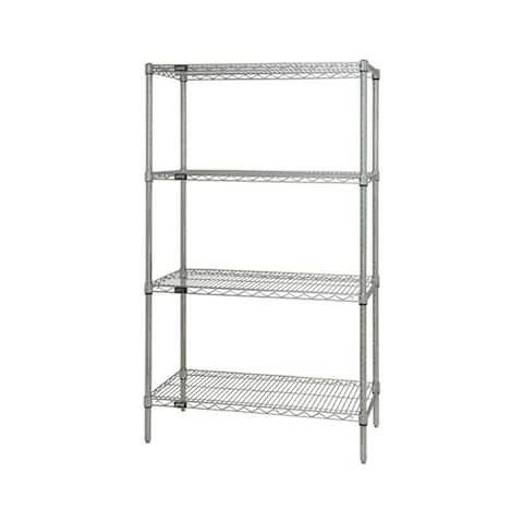 """Offex Stainless Steel Wire Shelving 4 Shelf Starter Unit - 12"""" x 36"""" x 74"""""""