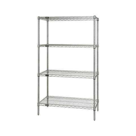 """Offex Stainless Steel Wire Shelving 4 Shelf Starter Unit - 14"""" x 30"""" x 74"""""""