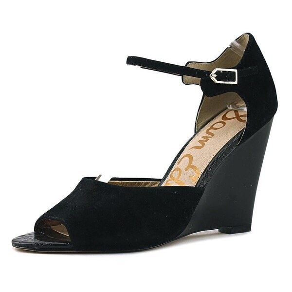 f1bab459eef8c Shop Sam Edelman Raven Women Open Toe Suede Black Wedge Heel - Free ...