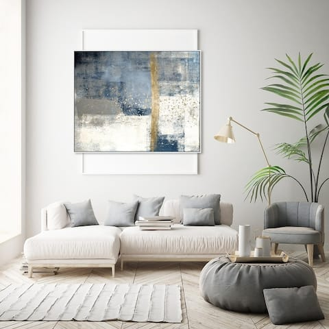 Oliver Gal Abstract Wall Art Framed Canvas Prints 'In The Mid Summer' Paint - Blue, White