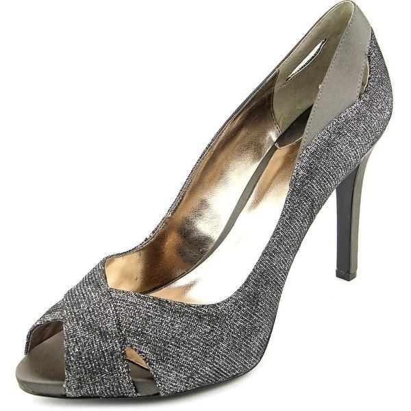 Alfani Lyrra Women Peep-Toe Canvas Silver Heels