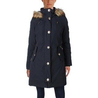 MICHAEL Michael Kors Womens Long Coat Down Fur Trim