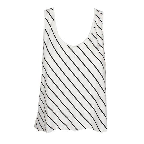 Kensie Vanilla Combo Striped Lace-Back Cropped Top M