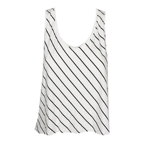 Kensie White Black Lace-Back Striped Cropped Tank Top L