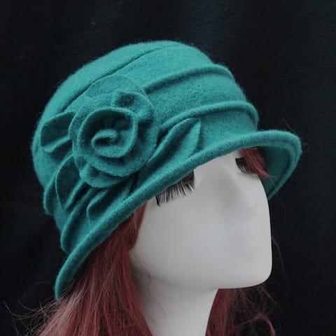 Vintage Women Wool Church Cloche Flapper Hat Lady Bucket Winter Flower Cap