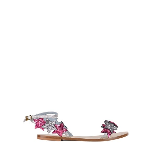 0eddcfae74db Shop Chiara Ferragni Womens Leather Pink Glitter Star Sandals - Free ...