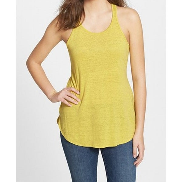fd7fd820dffd94 Shop Eileen Fisher NEW Yellow Womens Size XS Racerback Linen Tank Top -  Free Shipping On Orders Over  45 - Overstock - 17791225