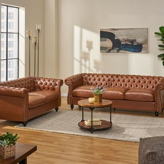 Link to Silverdale Traditional Chesterfield 2 Piece Living Room Set by Christopher Knight Home Similar Items in Living Room Furniture