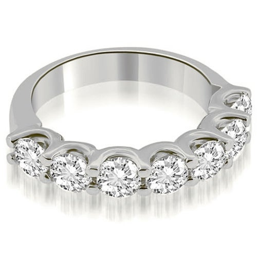 1.40 cttw. 14K White Gold Classic Prong Set Round Cut Diamond Wedding Band