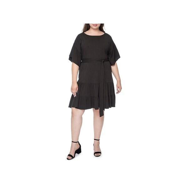Bobeau Womens Plus Casual Dress Cotton Short Sleeves