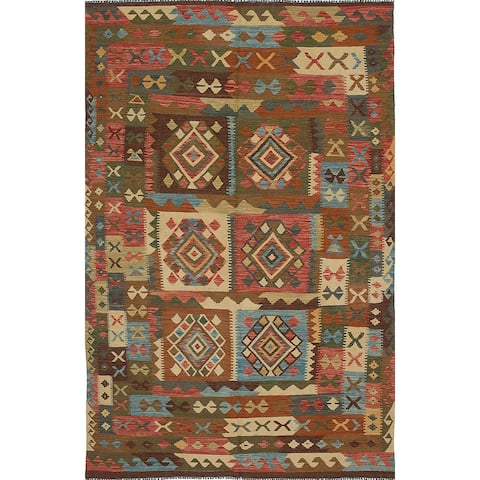 "ECARPETGALLERY Flat-weave Sivas Burgundy, Green Wool Kilim - 5'11"" x 9'11"""