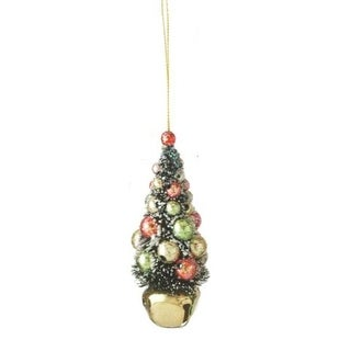 """Link to 4"""" Flocked and Glittered Christmas Tree on Gold Jingle Bell Holiday Ornament - N/A Similar Items in Christmas Decorations"""