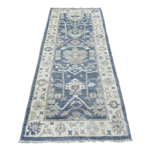 """Shahbanu Rugs Denim Blue Oushak with Floral Motifs Wool Hand Knotted Oriental Wide Runner Rug (3'0"""" x 7'10"""") - 3'0"""" x 7'10"""""""