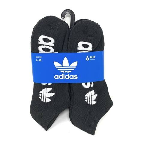 adidas Men's Originals Trefoil 6 Pack No Show Socks, (Shoe Size 6-12)