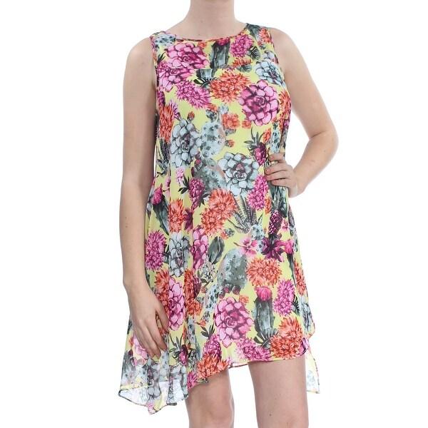 592d59563e239 Shop ROBBIE BEE Womens Yellow Cactus Chiffon Sleeveless Jewel Neck Mini Shift  Dress Petites Size: 4 - Free Shipping On Orders Over $45 - Overstock - ...