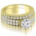 1.70 cttw. 14K Yellow Gold Cathedral Two Row Round Diamond Bridal Set - Thumbnail 0