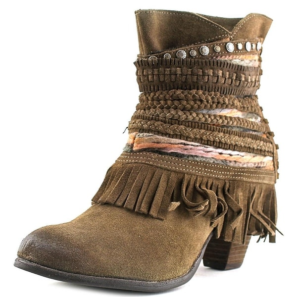 Naughty Monkey Poncho Women Round Toe Leather Brown Ankle Boot