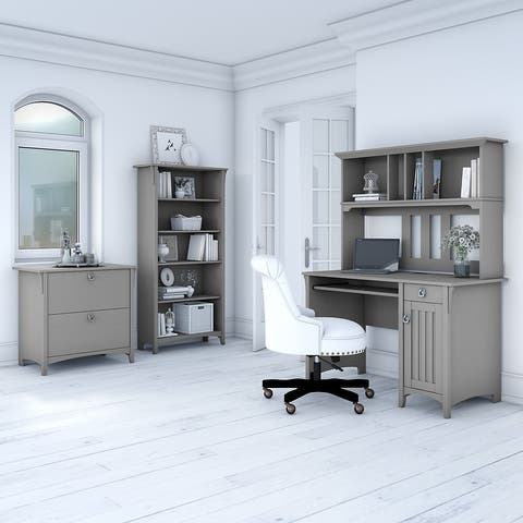 The Gray Barn Lowbridge Mission Cape Cod Grey Desk with Hutch, Lateral File Cabinet, and 5-shelf Bookcase