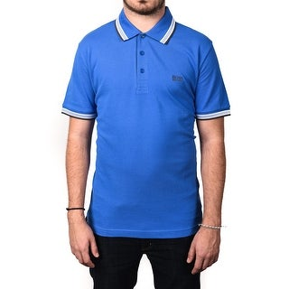 Hugo Boss Green Men's Paddy Multicolor Ribbed Polo Shirt Blue