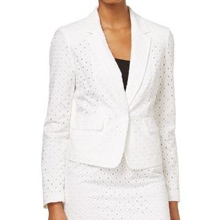 Nine West NEW White Eyelet Women's 10 Two-Pocket Notch-Lapel Jacket