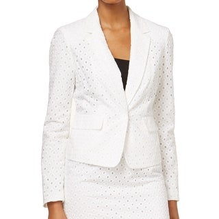 Nine West NEW White Eyelet Women's 12 Single-Button Notch-Lapel Jacket