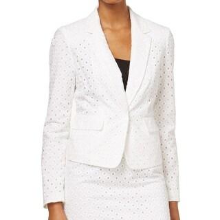 Nine West NEW White Eyelet Women's 8 Two-Pocket Notch-Lapel Jacket