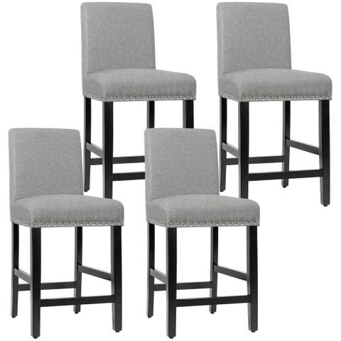 Gymax 4PCS Upholstered Counter Stools Bar Stool Home Kitchen w/ Wooden