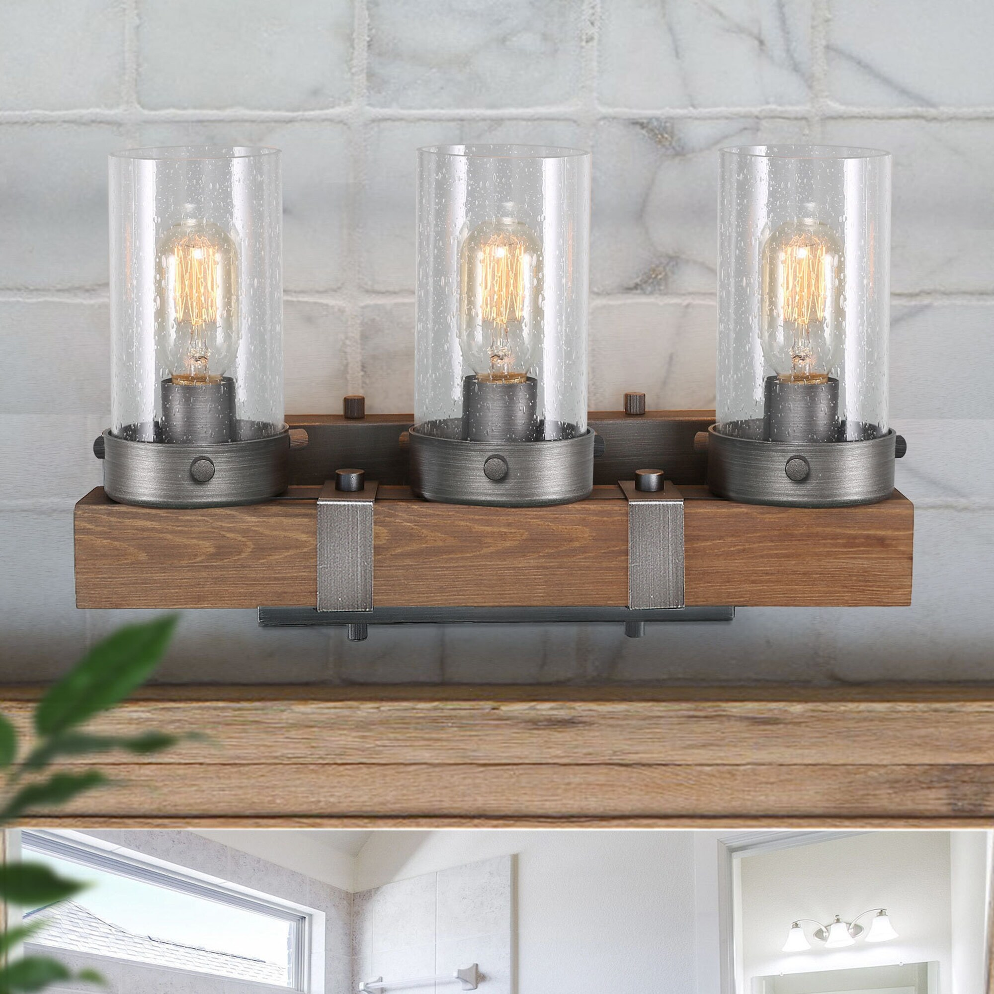 Lnc 3 Light Rustic Wall Sconces Wood Bathroom Vanity Lights L18 1 X W5 9 X H10 6 Overstock 25454829