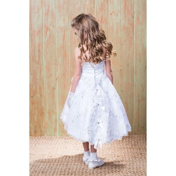 Rainkids Baby Girls White Virgin Mary Ruffle Detachable Baptism Dress 6-12M