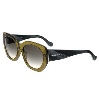 Balenciaga BA0017 96B Olive Green/Black Horn Full-Rim Cat Eye Sunglasses