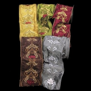 """Silver Satin Silk with Acanthus Print Wired Craft Ribbon 4"""" x 10 Yards"""