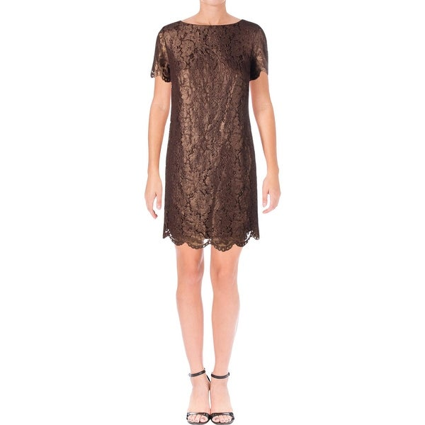 Lauren Ralph Lauren Womens Cocktail Dress Short Sleeves Knee-Length