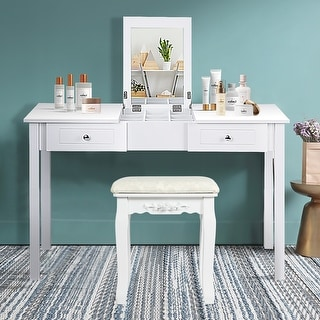 Costway Vanity Table Dressing Table Flip Top Desk Furniture Stool
