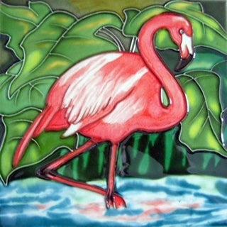 Standing Flamingo Ceramic Tile 4 Inches