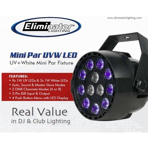 Eliminator Lighting Mini Par UVW LED 9-1W UV & 3-1W White LED Light