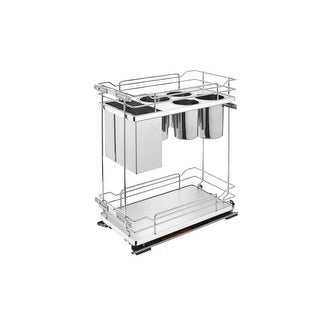 """Rev-A-Shelf 5322KB-BC-11 5322KB Series 11"""" Wide Two Tier Pull Out Base Organizer with Storage Bins and Soft Close Slides - N/A"""