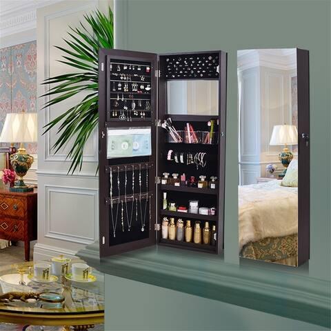 Retro PVC Wood Grain Coating Whole Body Mirror Decoration Storage