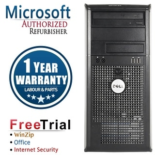 Refurbished Dell OptiPlex 745 Tower Intel Core 2 Duo E6300 1.86G 4G DDR2 320G DVD Win 7 Home 64 Bits 1 Year Warranty - Silver