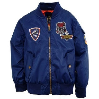 iXtreme Boys Poly Twill Flight Jacket with American Flag Sleeve Patch