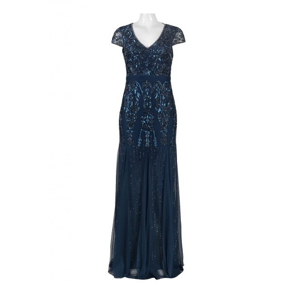 14bced6ad31 Shop Adrianna Papell Cap Sleeve Fully Beaded Gown V-Neckline