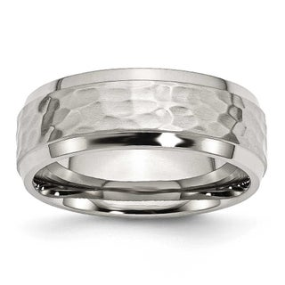 Stainless Steel Beveled Edge 8mm Hammered and Polished Band (More options available)