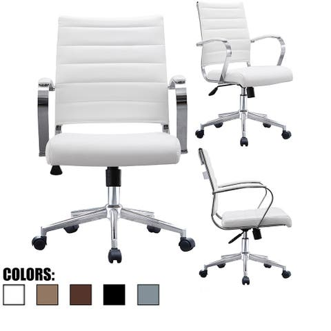 2xhome Office Chairs Mid Back Ribbed PU Leather Conference Room Tilt Work Desk Manager Task Executive Lumber Support Boss