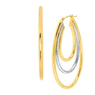 Two-Tone Triple Oval Hoop Earrings in 14K Gold-Bonded Sterling Silver