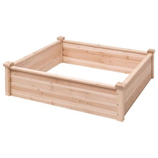 Gymax Wooden Garden Bed Vegetable Flower Raised Square Planter Kit Outdoor Garden