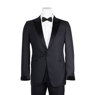 Tom Ford Black Windsor Suit Satin Peak Lapel 2 Piece Suit - 46r